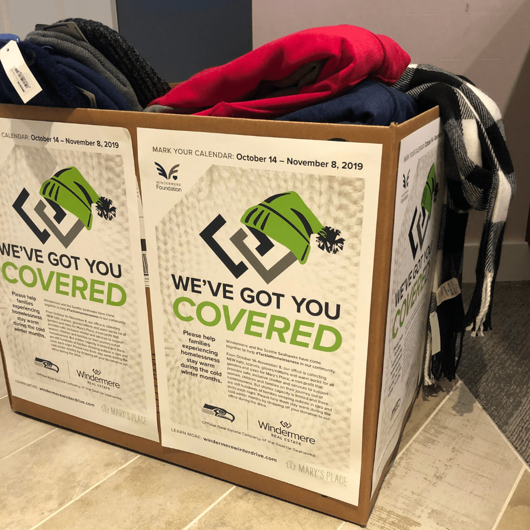The Windermere Yarrow Bay office donated 16 winter jackets, 3 scarves, 4 pairs of gloves, 6 bundles of socks and 10 hats to help homeless families keep warm this winter.