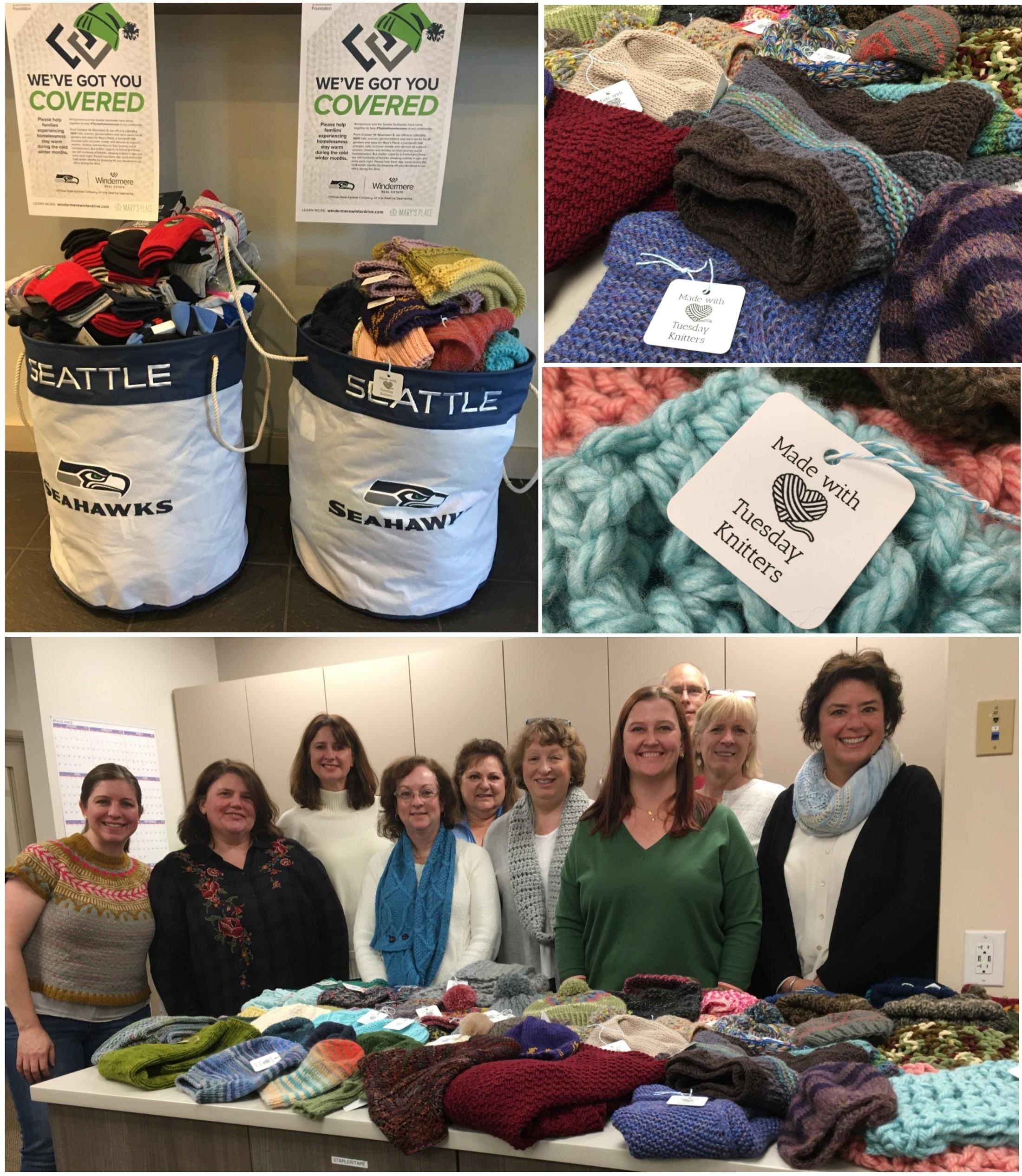 The Windermere Mercer Island office made the drive extra special by partnering again with the Mercer Island Tuesday Knitters. The group contributed 67 cozy hand-knitted hats and scarves this year.