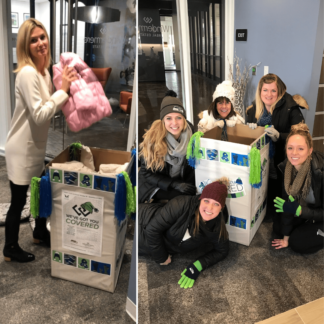 The team at Windermere Bellevue gathered 7 jackets, 22 gloves, 16 hats, 19 scarves and 13 packages of socks to help keep homeless families warm this winter.